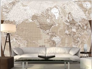 World Map (French Version) in Sepia 12' x 8' (3,66m x 2,44m)