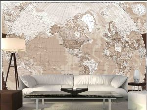 World Map (English Version) in Sepia 12' x 8' (3,66m x 2,44m)