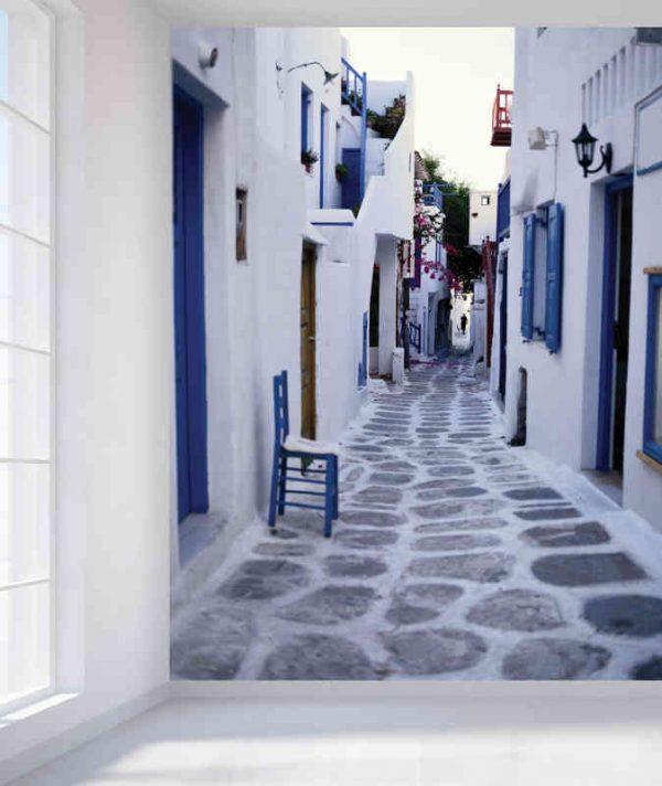 Cobblestone Alley in Mykonos, Greece 6' x 8' (1,83m x 2,44m)