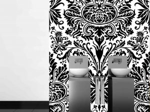 Damask Black & White 6' x 9' (1,83m x 2,75m)