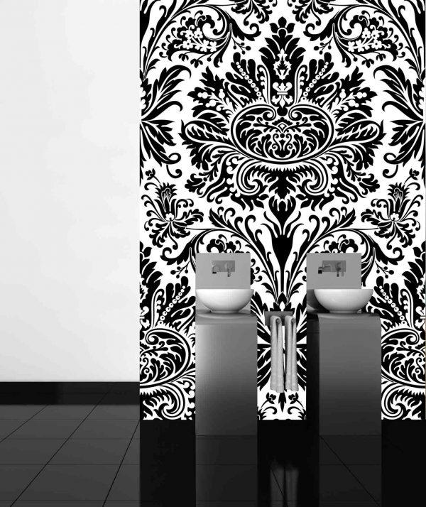 Damask Black & White 6' x 9' (1,83m x 2,75m)