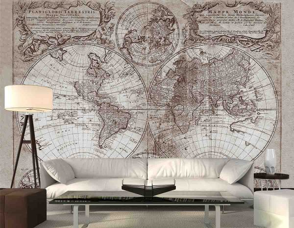 Old Map 1746 in Sepia 10.5' x 8' (3,20m x 2,44m)