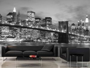 Brooklyn Bridge at Night (Black and White) 12' x 8' (3,66m x 2,44m)