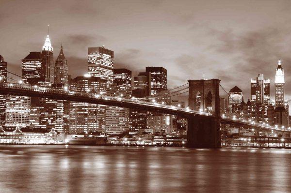 Brooklyn Bridge at Night (Sepia) 12' x 8' (3,66m x 2,44m)