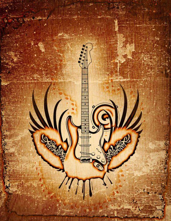 Grunge Winged Guitar 6' x 8' (1,83m x 2,44m)