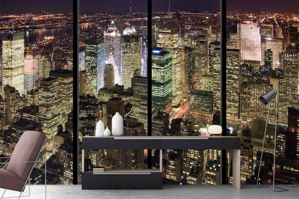 Manhattan at Night with Window Frames 12' x 8' (3,66m x 2,44m)