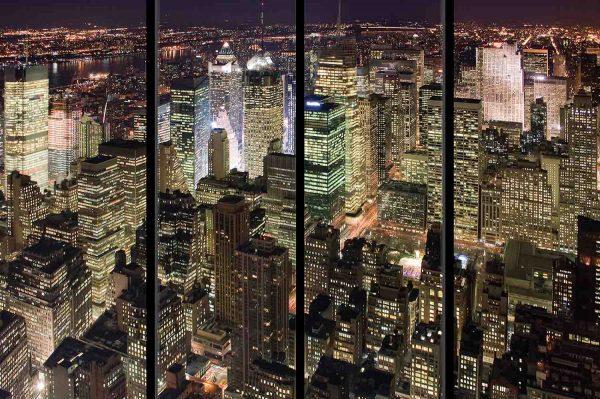 Manhattan at Night with Window Frames 12' x 8' (3,66m x 2,44m)