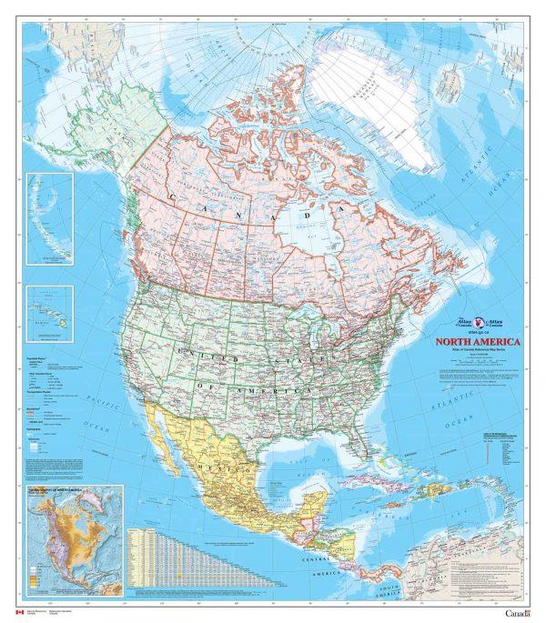 North American Map (English Version) 7.5' x 8.5' (2,29m x 2,59m)