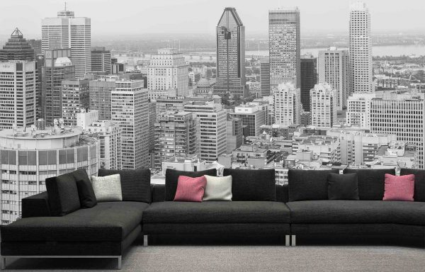 View of Downtown Montreal from Mount Royal (Black and White) 16.5' x 9' (5,03m x 2,75m)