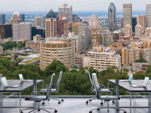 View of Downtown Montreal from Mount Royal 24' x 8' (7,32m x 2,44m)