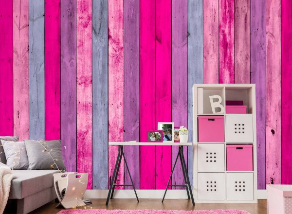 Wall of Pink Wood Planks 12' x 8' (3,66m x 2,44m)