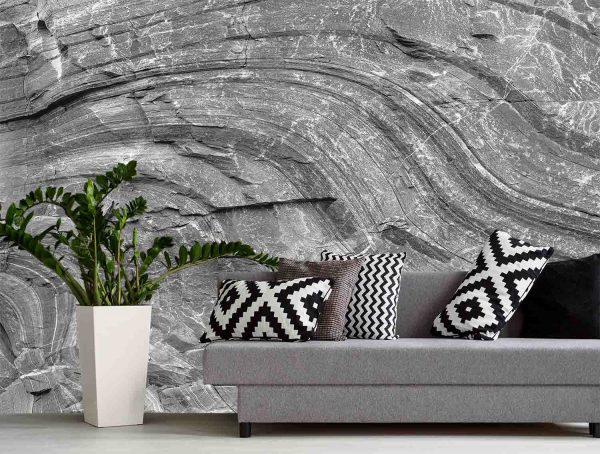 Canadian Shield Swirl (Black and white) 13.5' x 8' (4,11m x 2,44m)