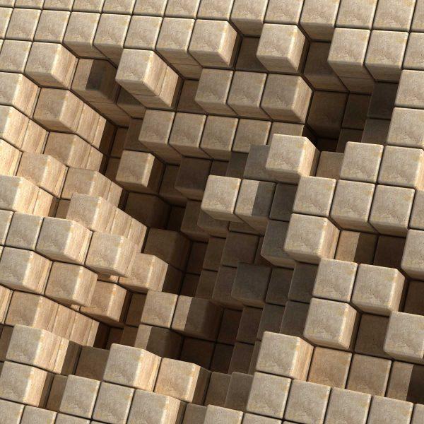 3D Cubes Sepia Tones 9' x 9' (2,75m x 2,75m)