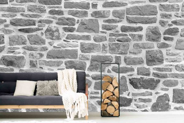 Grey Stone Wall with White Mortar 19.5' x 8' (5,94m x 2,44m)