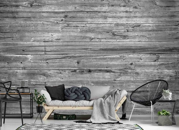 Horizontal Old Barn Wood (Black and White) 12' x 8' (3,66m x 2,44m)