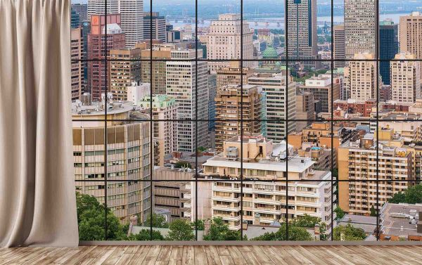 View of Downtown Montreal from my Condo on Mount Royal (Color) 12' x 8' (3,66m x 2,44m)