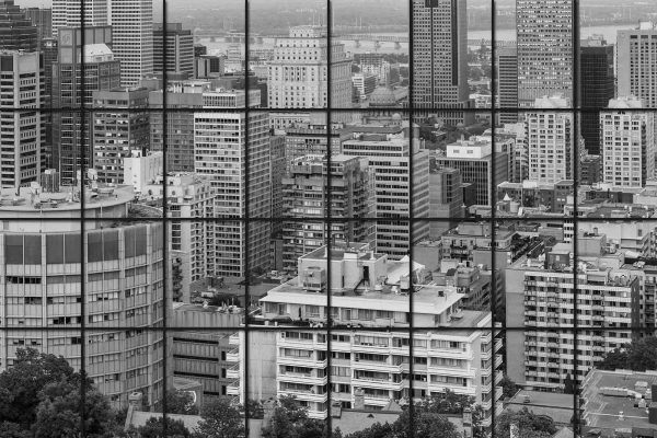 View of Downtown Montreal from my Condo on Mount Royal 12' x 8' (3,66m x 2,44m)