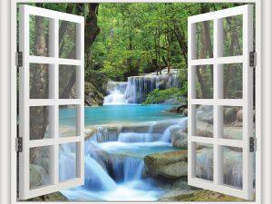 Erawan Waterfalls in Thailand with a White Window 6' x 5' (1,83m x 1,52m)