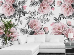 Pink Flowers with Canvas Texture 9' x 9' (2,75m x 2,75m)
