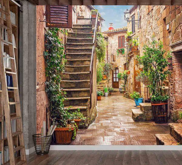 Street in Pitigliano, Tuscany, Italy 9' x 9' (2,75m x 2,75m)