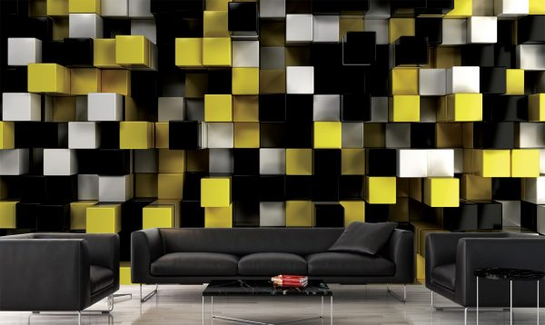 Yellow, Black and White Cubes 15' x 8' (4,57m x 2,44m)
