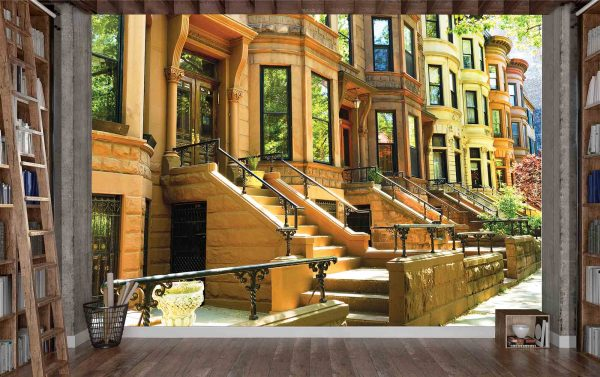 Famous Brownstone Row Houses in Brooklyn, New York 12' x 8' (3,66m x 2,44m)
