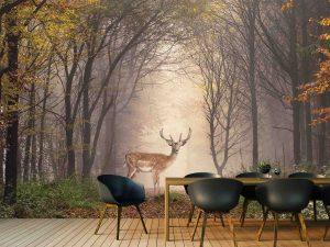 Fallow Deer in Morning Mist 16.5' x 8' (5,03m x 2,44m)