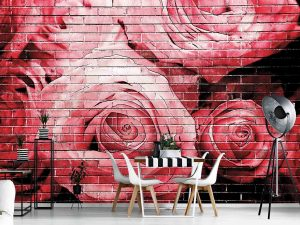 Painted Roses on a Brick Wall 12' x 8' (3,66m x 2,44m)