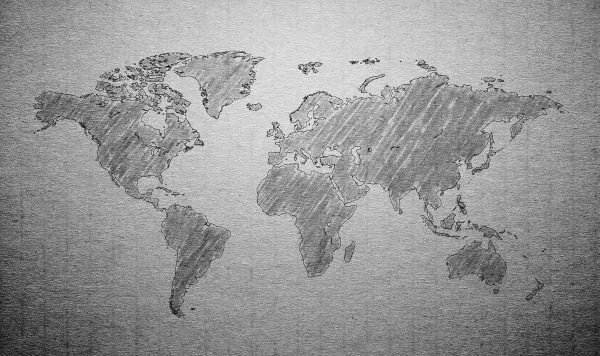 Textured World Map 13.5' x 8' (4,11m x 2,44m)