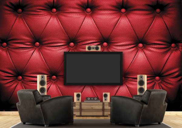 Red Padded Leather 12' x 8' (3,66m x 2,44m)