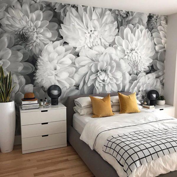 Dahlia Flowers (Black and White) 12' x 9' (3,66m x 2,75m)