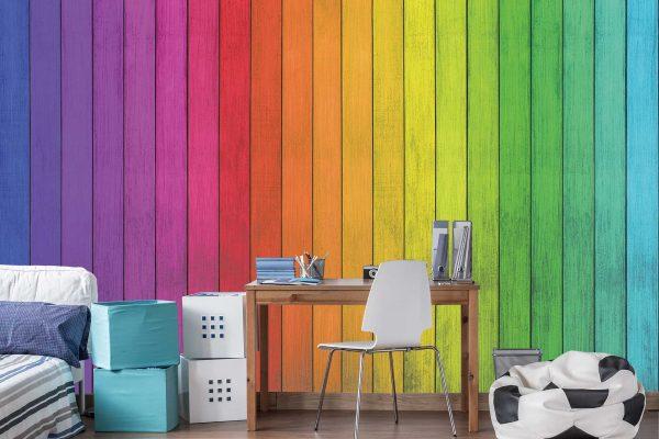 Multicolored Wood Planks 12' x 8' (3,66m x 2,44m)