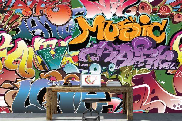 Love and Music Graffiti 12' x 8' (3,66m x 2,44m)