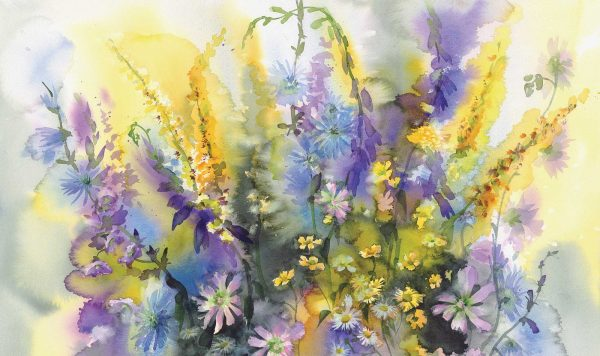 Watercolor Floral Bouquet 13.5' x 8' (4,11m x 2,44m)