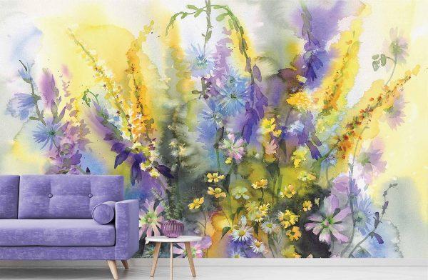 Watercolor Floral Bouquet 13.5' x 8' (4,11m x 2,44m)