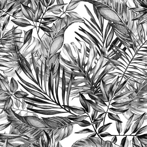 Tropical Plants in Black and White 9' x 9' (2,75m x 2,75m)