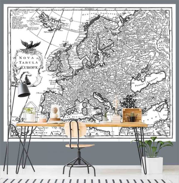 Antique Map of Europe 7.5' x 6' (2,29m x 1,83m)