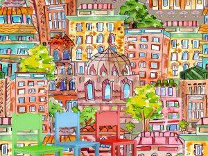 Watercolor Cityscape 9' x 9' (2,75m x 2,75m)