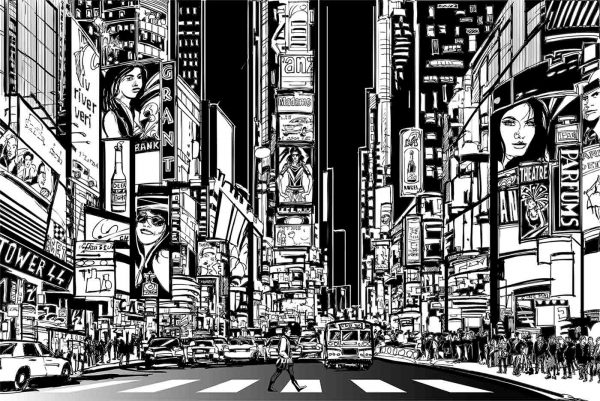 Time Square at Night 12' x 8' (3,66m x 2,44m)