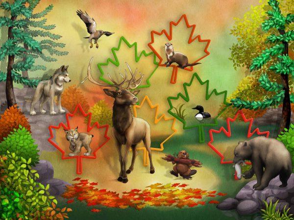 Canadian Wildlife on Maple Leaf Backgound 10.5' x 8' (3,20m x 2,44m)